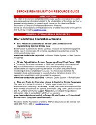 stroke rehabilitation resource guide - Heart and Stroke Foundation ...