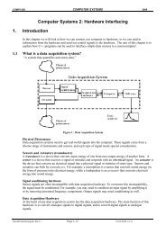Computer Systems 2: Hardware Interfacing 1. Introduction