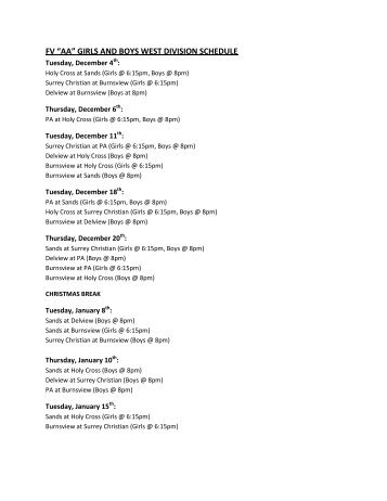 Senior Girls/Boys Basketball Schedule