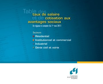 Taux de salaire en vigueur au 1er mai 2011 - Sqc.ca