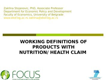 working definitions of products with nutrition/ health ... - Focus-Balkans