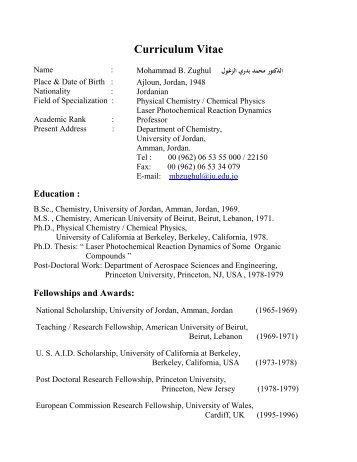 Curriculum Vitae - Faculty of Science