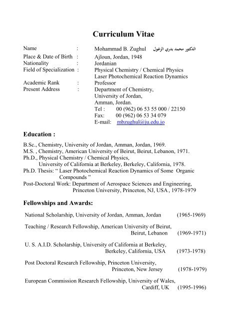Curriculum Vitae Faculty Of Science