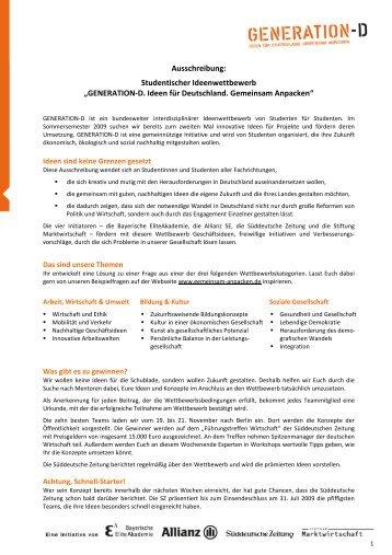 """Ausschreibung: Studentischer Ideenwettbewerb """"GENERATION-D ..."""