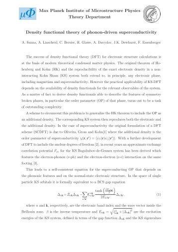 Density functional theory of phonon-driven superconductivity Max ...