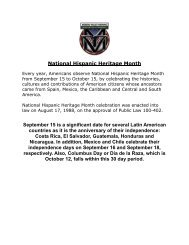 National Hispanic Heritage Month September 15 is ... - Moreno Valley