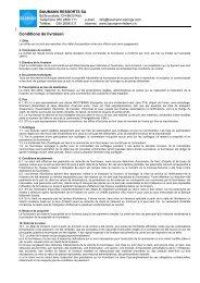 Conditions de livraison - BAUMANN SPRINGS