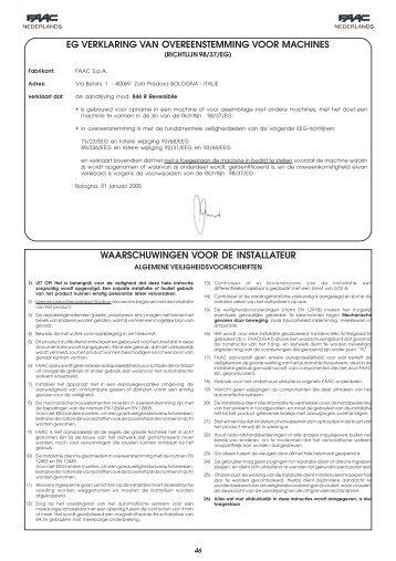 eg verklaring van overeenstemming voor machines ... - FAAC