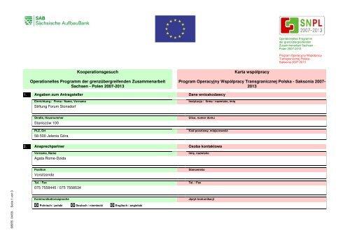 Współpraca z Fundacją Forum Staniszów w ... - Polen 2007-2013