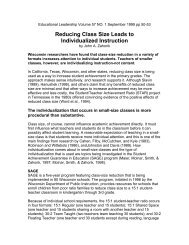 Reducing Class Size Leads to Individualized Instruction - National ...