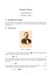 Transport Theory - Condensed Matter Theory
