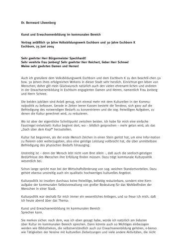 Rede von Dr. Bernward Loewenberg als PDF - Volksbildungswerk ...