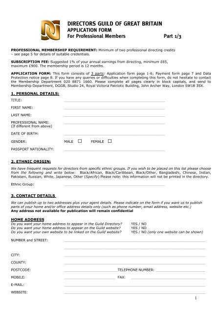 Professional Membership Application Form - Directors Guild