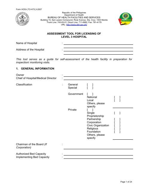 Assessment Level 3 Hospital Doh