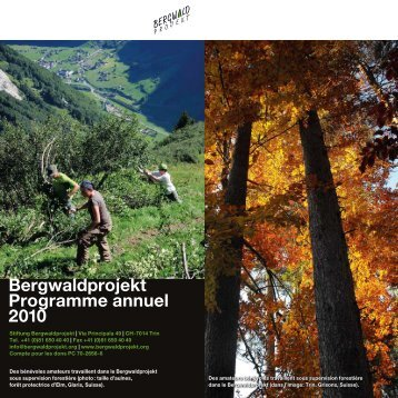 Bergwaldprojekt Programme annuel 2010