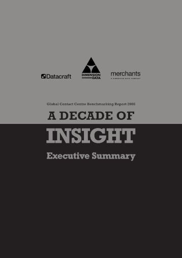 Benchmarking Executive Summary 2008 - CallNorthWest