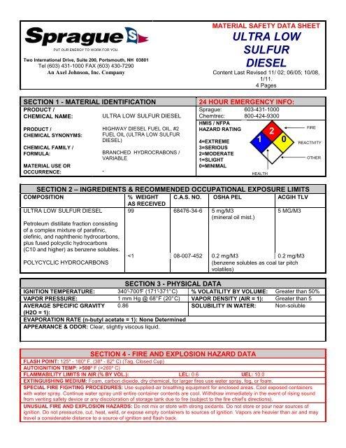 MSDS Ultra Low Sulfur Diesel - Sprague Energy