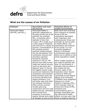 What are the causes of air Pollution - UK-Air - Defra