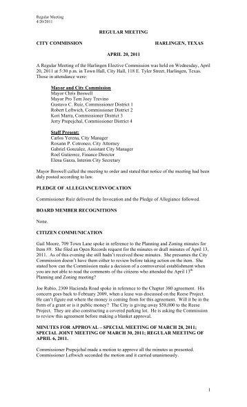 1 REGULAR MEETING CITY COMMISSION HARLINGEN, TEXAS ...
