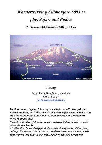 Wandertrekking Kilimanjaro 5895 m plus Safari und Baden