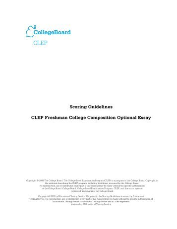 Scoring Guidelines CLEP Freshman College ... - College Board