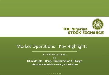 Market Operations - Key Highlights - The Nigerian Stock Exchange