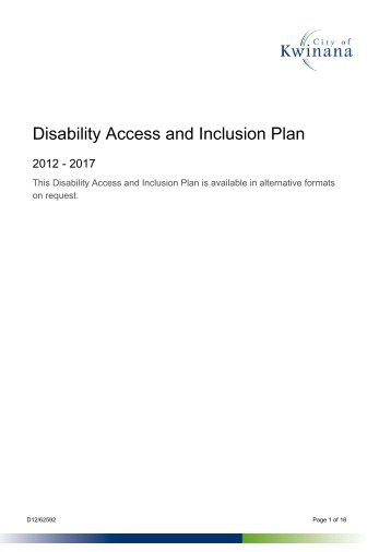 Disability Access and Inclusion Plan - Tenderlink