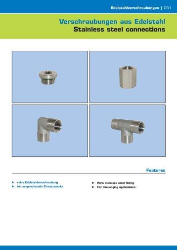 Verschraubungen aus Edelstahl Stainless steel connections - Amet