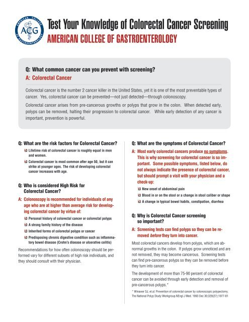 Test Your Knowledge Of Colorectal Cancer Screening American