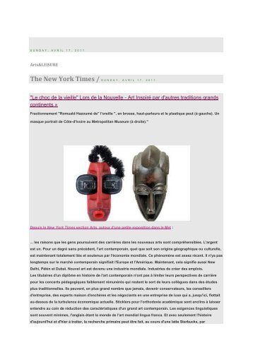 """New York Times"" - April 17 2011 - Sculpture 1940"