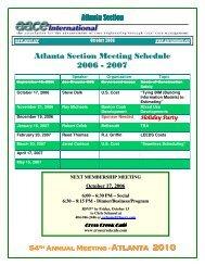 Atlanta Section Meeting Schedule 2006 - 2007 - Atlanta 2010