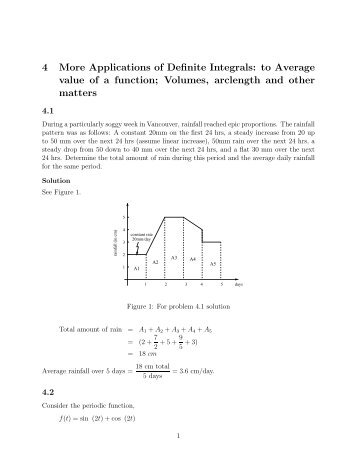 4 More Applications of Definite Integrals: to Average value of a function