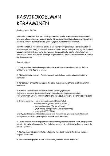 KASVIKOKOELMAN KERÄÄMINEN - Turku