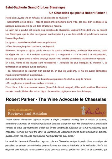 Robert Parker - The Wine Advocate le Chasselas - Cave SA