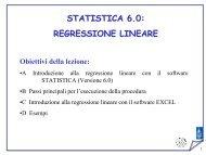 STATISTICA 6.0: REGRESSIONE LINEARE