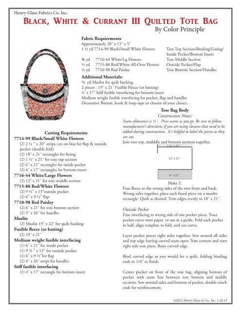 Black, White & Currant III Quilted Tote Bag - Henry Glass & Co