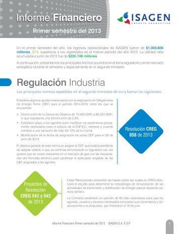 Informe financiero a junio - Isagen