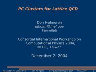 PC Clusters for Lattice QCD - USQCD