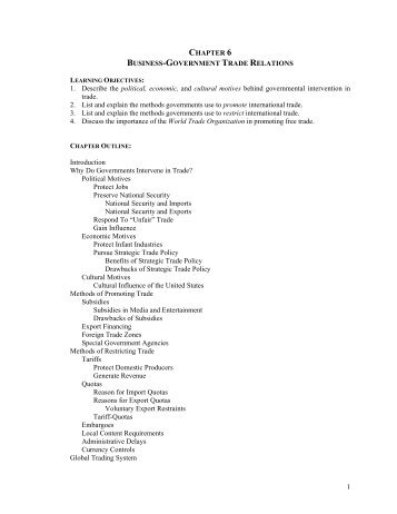 1 CHAPTER 6 BUSINESS-GOVERNMENT TRADE RELATIONS 1 ...