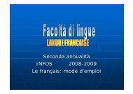 Seconda annualità INFOS 2008 INFOS 2008-2009 Le français ...