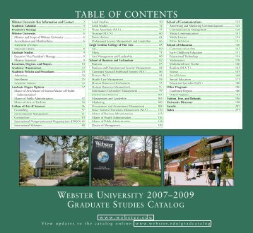 WEBSTER UNIVERSITY 2007–2009 TABLE OF CONTENTS