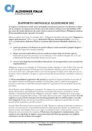 Comunicato sul Rapporto Mondiale Alzheimer 2012 - Alzheimer Italia