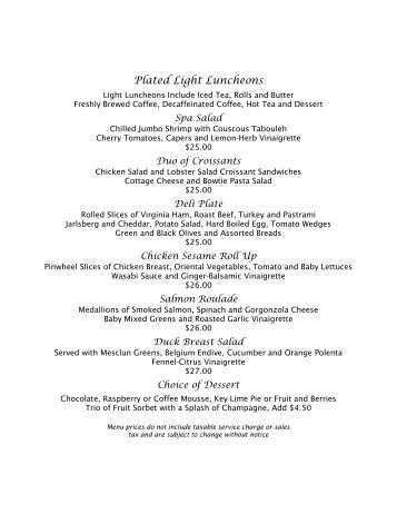 lunch menus - Naples Beach Hotel & Golf Club