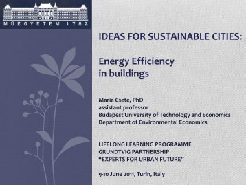 9-10 June 2011, Turin, Italy - IDEAS FOR SUSTAINABLE CITIES