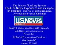 The Future of Ranking Systems, US News Experience and its Impact ...