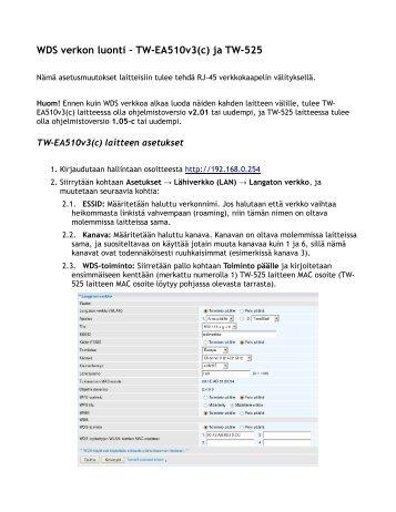 WDS verkon luonti – TW-EA510v3(c) ja TW-525 - Telewell
