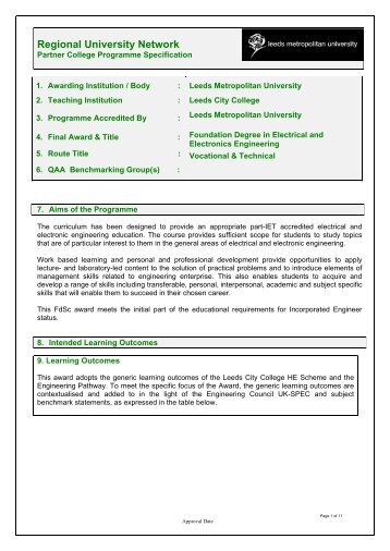 FdSc Electrical and Electronic Engineering Programme ...