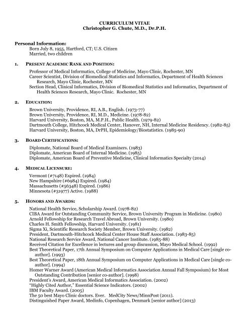 CURRICULUM VITAE Christopher G  Chute, M D , Dr P H  Personal