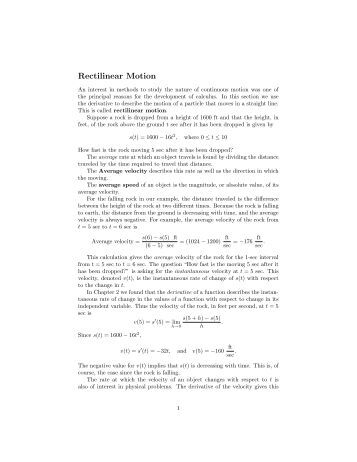rectilinear motion examples