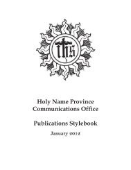 Holy Name Province Communications Office Publications Stylebook